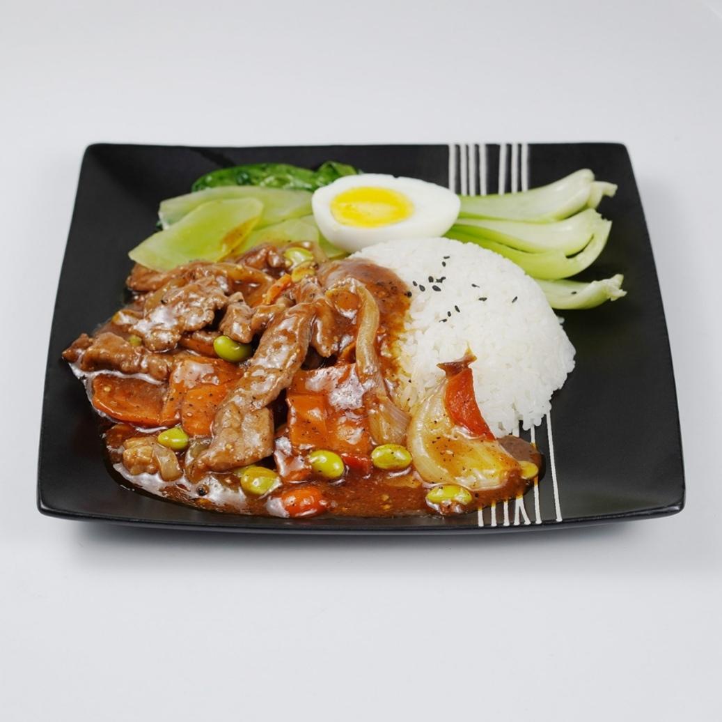 黑椒牛肉饭塑料盒装1份 -套餐盒饭/盖浇饭
